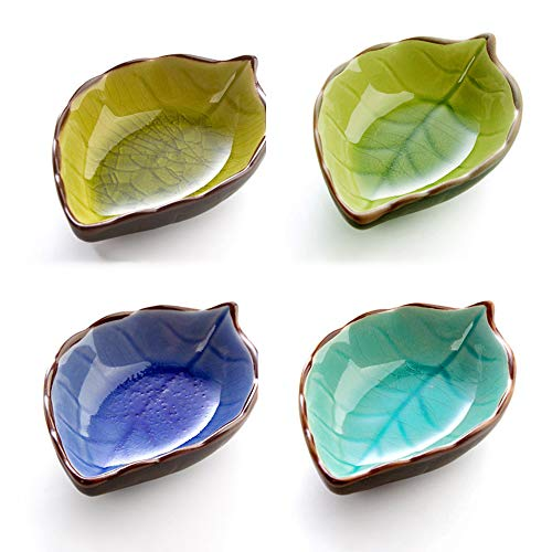 GYJ 4PCS Sauce Dip Bowls Serving Dish/White Snack for Fruits Multicolor Leaf Shape Porcelain Saucers Dipping Bowl Dishes Sushi DinnerwareSet Essig Seasonings genießen Sauce Dish Bowl