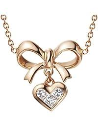 Gnzoe Joyería Mujeres 18K Oro Collar de Diamantes Arco-Nudo Corazón Colgante Diamante Valentine Regalo Cadena Oro con 0.17Ct Diamante