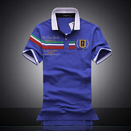 OLLOLCCY Herrenhemden Kurzarm Casual Slim Fit Kontrastfarbe Polo-Shirts Umlegekragen Schwarz Grau Blau 2 Farben,Blue,XL (Ralph Polo-shirts Von Pack Lauren)