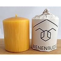 2 Stück Kerzen, 10 x 8 cm, Stumpenform, aus 100 % Bienenwachs handgemacht, gegossen, mit langer Brenndauer, Bienenwachskerzen, Bienenwachskerze, Honigkerze, Bienenkerze, direkt vom Imker aus Deutschland, Bayern, von der Bienenbude