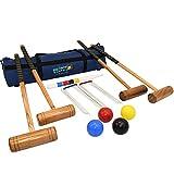Big Game Hunters Croquet Set - Full Size 4 Player Set with Hardwood