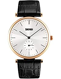 Naivo Men's Quartz Stainless Steel and Leather Color:Black (Model: WATCH-1161)