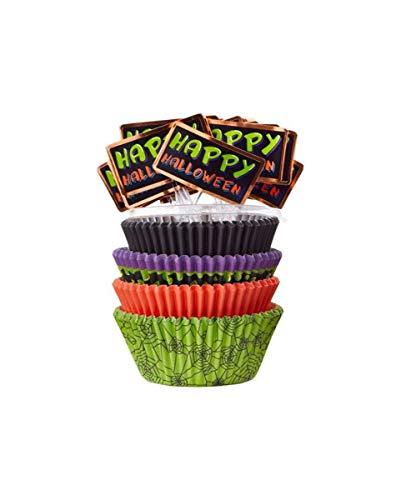 Horror-Shop Halloween Muffin Förmchen und Picker für Bunte Cupcakes (Cupcakes Halloween Selbstgemacht)