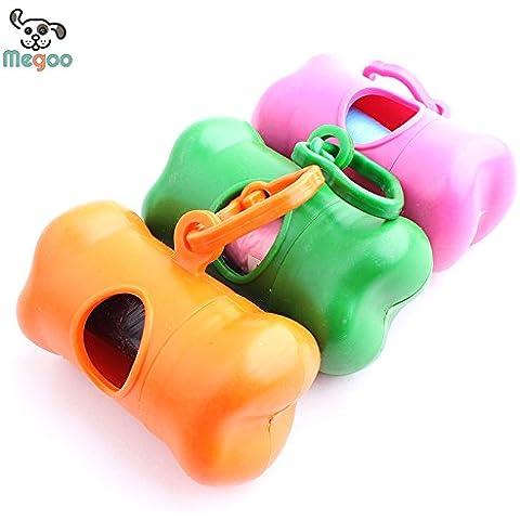 Sypure (TM) 1pc Colorful Bone Dog Pet Poop Bag Dispenser portante Puppy Dog Bag Rifiuti e Holder