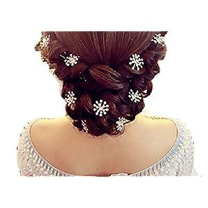 Fashion Jewery Damen Haarschmuck Accessoires Haarblumen Haargesteck Haarnadeln Kristall Hochzeit Strass Tiara Diadem Perlen Blumen Blüte Weiss Braut Haarschmuck Neuheit
