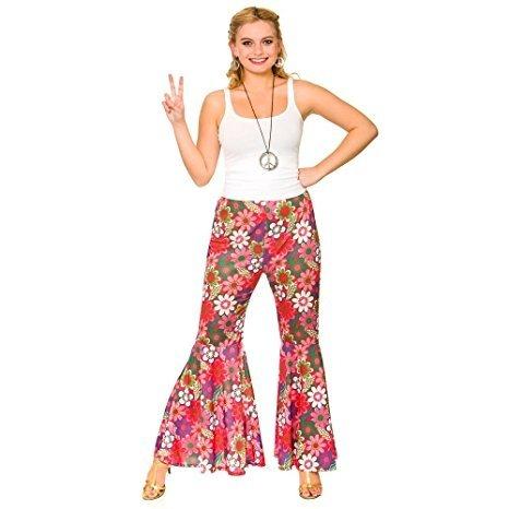 Pantalones Hippie de Flower Power para mujer (Grande (46-48))