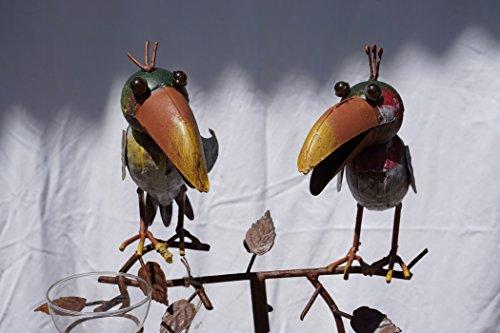 Regenmesser Vögel bunt Metall 130 cm