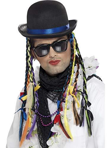 Fancy Ole - Kostüm Accessoires Zubehör Herren Männer 80er Jahre Popstar Chameleon Bowler Hut mit Zöpfen, perfekt für Karneval, Fasching und Fastnacht, Schwarz