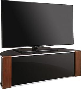 "MDA Designs Remote Friendly Beam Thru Glass Door Walnut/High Gloss Piano Black with Brushed Aluminium Trim 40""-52"" LCD/Plasma/LED Cabinet TV Stand"