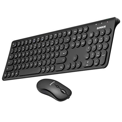 Sonkir Kabelloses Tastatur- und Mausset, K-20, 2,4 GHz, ultradünne, wiederaufladbare Tastaturmaus in Originalgröße für Windows, Laptop, PC und Notebook (schwarz)