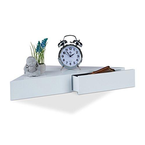 Relaxdays Eck Wandregal, Dreieckige Ablage, 2 Schubladen, Unsichtbare Befestigung, Dekorativ, MDF, HBT: 8x60x30cm, Weiß (Bücherregal Schublade)