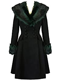 29f0288b862 Hell Bunny Rock Noir Faux Fur Glamorous Womens 50s Vintage Winter Smart Coat  Excellent Quality