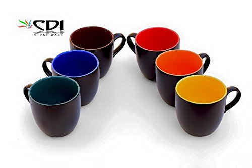 Black Mat Finish Tea/Coffee Mugs (6 Pcs) Microwave Safe