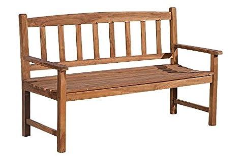 CLP Banc de jardin en bois de teck robuste AUCLAND V2, résistant à toutes les saisons, avec dossier 180x64 cm