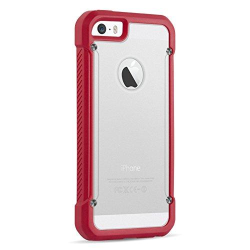iPhone 5 5s & SE Silikon Hülle | JAMMYLIZARD Heavy Duty Outdoor Schutzhülle Transparent Case Cover mit Bumper in ROT & KLAR KLAR/ROT