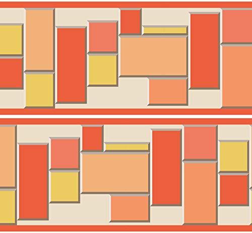 "Selbstklebende Bordüre ""Quader"", 4-teilig 560x15cm, Tapetenbordüre, Wandbordüre, Borte, Wanddeko,Block, Stein"