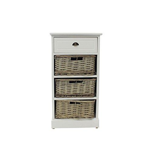 Schrank Leg (JVL Jasmin matt weiß Holz Schrank mit grau gewaschener Vollweide Körbe, 4Schubladen, Holz, matt weiß, grau Waschen)