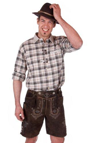 orbis Textil H049 - Trachten Hemd mit Krempelarm braun Größe S