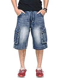 0869227ec2165 Hommes 3 4 Jeans Cargo Hop Hip Hipster Slim Fit Jeans Denim Shorts Pantalons  Courts Été