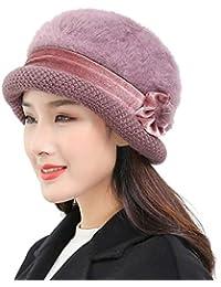 Damen Basken Mütze Barett Wolle mit Herzen Nieten