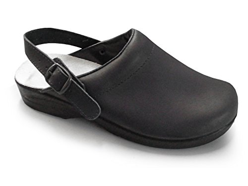 PLS Medical Soldini Comfort Clog - Classico Italiano Clog Nursing in pelle per gli Operatori Sanitari (UK 7 EU 41, Nero)