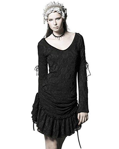 Punk Rave Da donna Abito in pizzo rosa nero gotico Steampunk Lolita a maniche lunghe Black L - 44 Il formato della donne