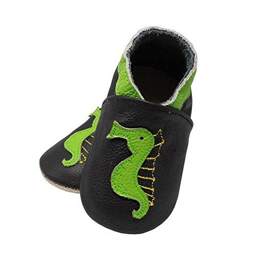 YangBaby Weicher Leder Lauflernschuhe Krabbelschuhe Babyschuhe Babyhausschuhe Karikatur Hippocampus Mehr Farben Schwarz