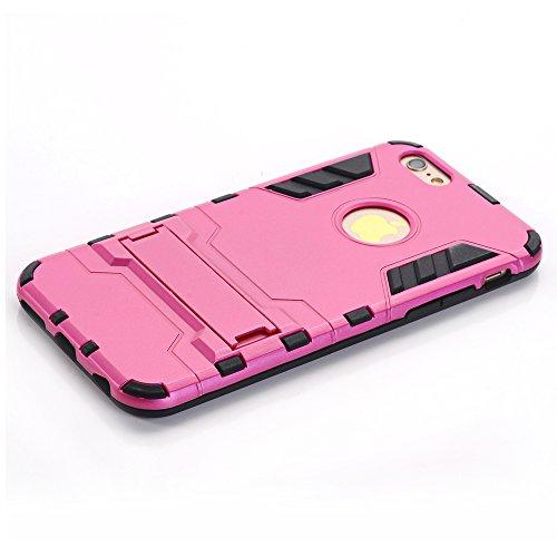 "WindCase iPhone 7 Plus Coque, Dual Layer Housse TPU +PC Hybride Etui Robuste Protection Lourde Armure Defender Case avec Béquille pour Apple iPhone 7 Plus 5.5"" Gris Rose"