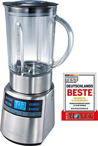 ProfiCook PC-UM 1006 Batidora de vaso, jarra de cristal 1,8 l, regulador velocidad electrónico, 1200 W, 1.8 litros, 1 Decibelios, Vidrio, 5, Negro y gris
