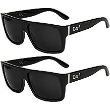 2er Pack Locs 9058 X 03 Sonnenbrillen Herren Damen Männer Frauen Brille - 1x Modell 05 (schwarz glänzend - Bandana-Design weiß/schwarz getönt) und 1x Modell 09 (schwarz glänzend/schwarz getönt) tZ05w