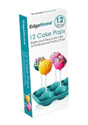EdgeHome Cake Pops Make & Bake Silicon Pastry Mold & Sticks (Makes 12 Pops)