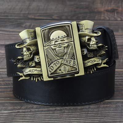 XDEJING cinturón Cráneo Dorado Novedad Encendedor