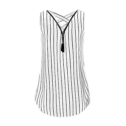 Damen Sommer Reißverschluss Tank Crop Tops Vest Tanktops Weste Cami DOLDOA Oberteile T-Shirt Geburtstags Geschenk Für Frauen Mädchen Freundin (EU:44, Weiß - 6)