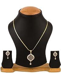 Quail Gold Plated Merican Diamond Pendant Set With Earrings For Women & Girls