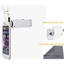 Wonbsdom - Lente de microscopio universal con zoom de 200X, LED con broche y paño de limpieza de microfibra, para iPhone 4S, 5, 5S, 5C, SE, 6, 6S, Plus, 7, 7Plus, Series de iTouch y iPad, Samsung Galaxy S4, S5, S6, S7,Note 2, 3, 4, 5, 6, HTC, Nokia, Sony, Blackberry etc.