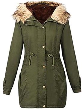 SHOBDW Mujeres chaqueta encapuchada invierno larga capa de ropa de tamaño