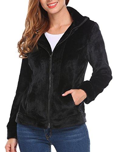 MeaneorDamen Teddy-Fleece Mantel weicher Jacke mit hohem Kragen Kapuzen Baggy Parka Jacke Coat Herbst WinterFrühling Schwarz-XL