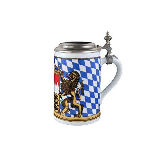 Seltmann Weiden 001.617239 Zusatzsort Bayern Bierkrug mit Deckel 0,75 L, Blau/Weiß/Beige/Rot