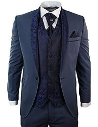 Hommes Parti Costume de mariage de smoking 5 pièces rond bleu châle revers Diamonte Garniture