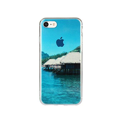 DBIT iPhone 7 Case, PU Pelle Flip Placcatura TPU Custodia Protezione Case Cover per Apple iPhone 7,Argento piccolo cottage