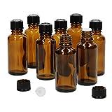 MamboCat - Set di 8 flaconi in Miniatura con contagocce I in Vetro Marrone da 30 ml I Piccoli biberon da Farmacia, con salvagoccia, Protezione UV