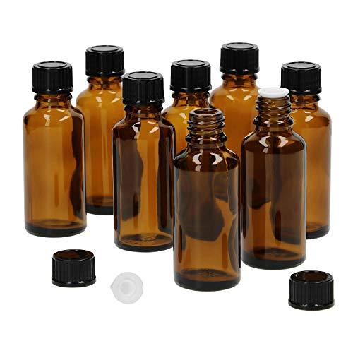 MamboCat 8tlg.-Set Miniaturflasche mit Tropfer I Braunglas 30 ml I kleine Apothekerfläschchen I Tropferflasche I UV-geschützte Medikamenten-Aufbewahrung