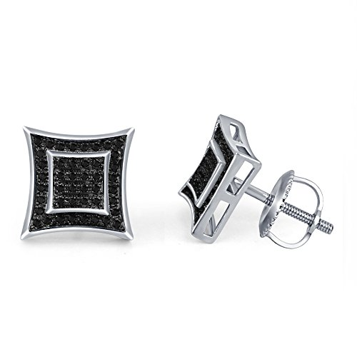 lilu Jewels Wonderful diaond véritable Noir Rond en Argent Sterling 925 Kite de boucles d'oreilles forme Clous Femme White Platinum Plated