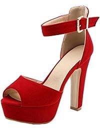 TAOFFEN Mujer Peep Toe Sandalias De Fiesta Moda Tacon Ancho Plataforma Tacon Alto Al Tobillo Zapatos