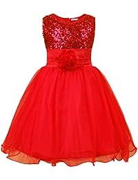 JerrisApparel niña lentejuela flor princesa vestido de fiesta de cumpleaños ...
