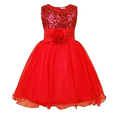 JerrisApparel Petite Fille Paillette Fête Fleur Robe de Cérémonie Bal Banquet Tulle (7 Ans, Rouge)