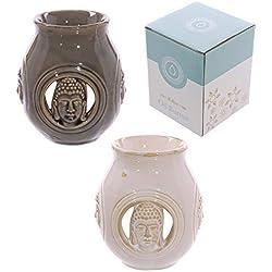 Decorativo Brillante Cerámica Buda Alivio Quemador de Aceite dos colores disponible PDS