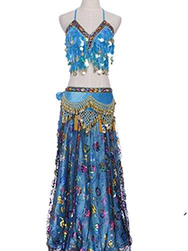 Bauch Tänzer Dancewear Bauch Tanzen Kostüm Set Sequined BH Top + Seite Schlitz Blume Stickerei Rock + Bauch Tanzen Hüfte Schal