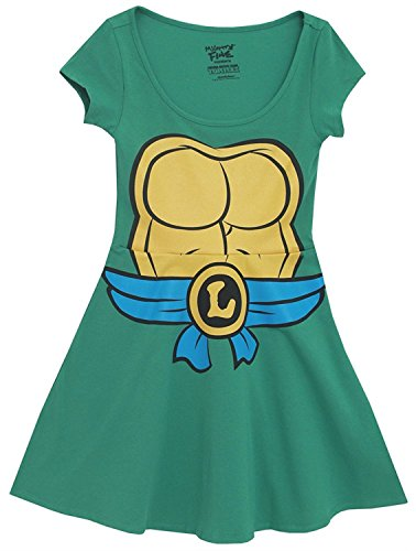 Teenage Mutant Ninja Turtles Green Costume Skater Dress (Leo (Donatello Kostüm Frauen)