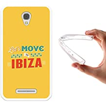 Funda Alcatel OneTouch Pixi First, WoowCase [ Alcatel OneTouch Pixi First ] Funda Silicona Gel Flexible Let's Move To Ibiza, Carcasa Case TPU Silicona - Transparente